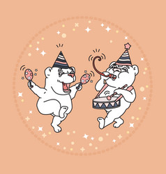 Card with two cute bears in party hats vector
