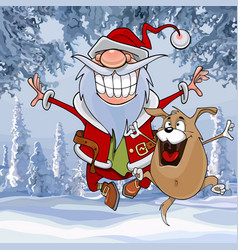 Cartoon santa claus happily bounces vector