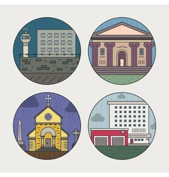 City architecture icons vector image vector image