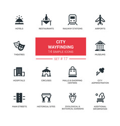 city wayfinding - modern simple icons pictograms vector image