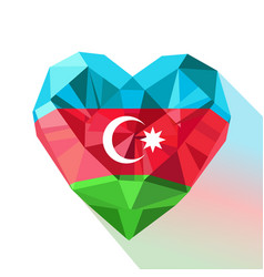 Crystal azerbaijans heart with the flag of the vector