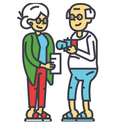 Elderly couple family on vacation concept line vector