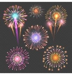 Festive firework set on checkered dark vector image