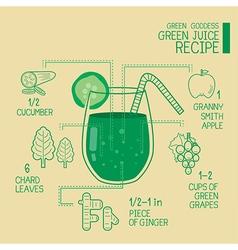 Green goddess green juice recipes great detoxify vector