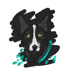 Hand drawn of black dog in sketch vector