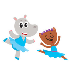 Hippo and bear puppy and kitten characters vector