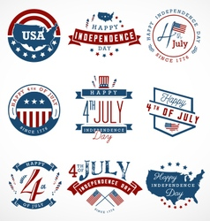 Independence day badges and labels vector