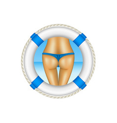 Life buoy with sexy bum of woman in blue bikini vector