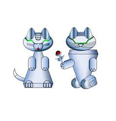 Modern realistic cat robots arrangement vector