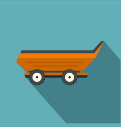 Orange car trailer icon flat style vector