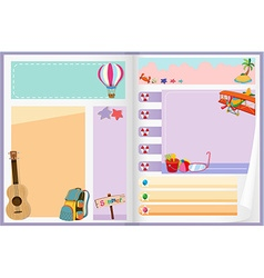 Paper design with summer objects vector
