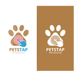 Paw and click logo combination pet and vector