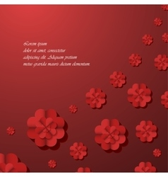 Red background with flowers vector image vector image