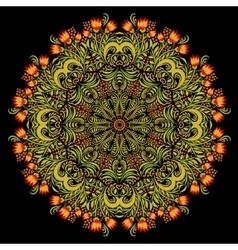 Round khokhloma pattern vector image vector image