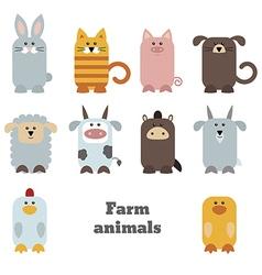 Set of cute farm animals vector