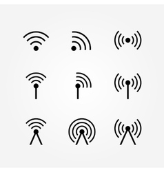 Set of Wireless and Wifi Icons vector image