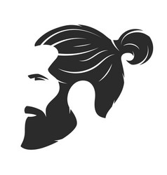 Silhouette of a bearded man hipster style barber vector