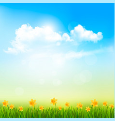 spring nature background with a green grass and vector image