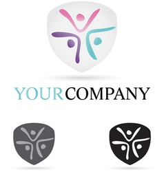 Three figures company icon vector