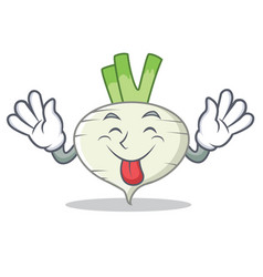 tongue out turnip mascot cartoon style vector image vector image