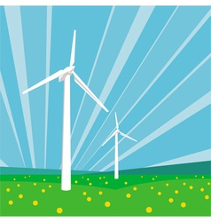Wind turbines and blue sky vector image vector image