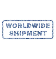 Worldwide shipment textile stamp vector