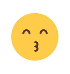 Yellow smiling cartoon face blow kiss emoji people vector