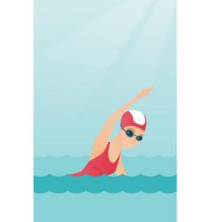 young caucasian sportswoman swimming vector image vector image