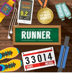 Top view runner gears on wooden plank vector