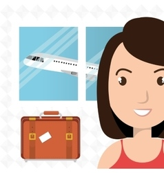 Woman suitcase airplane window vector