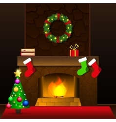 Christmas fireplace card vector