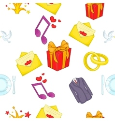 Wedding celebration pattern cartoon style vector