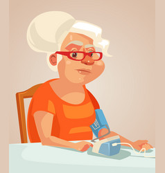 Grandmother character measuring blood pressure vector