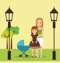Mom and daughter with baby carriage park vector