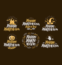 Halloween label set holiday icons or logos vector