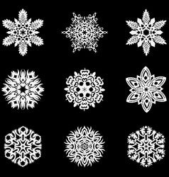 Set of winter snowflakes for christmas white vector