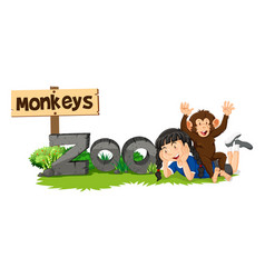 Monkey and girl by the zoo sign vector