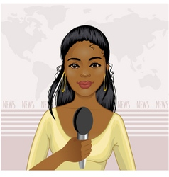 Pretty African American girl reports news vector image