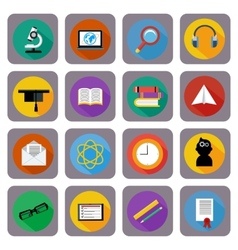 Icon set for online education e-learning vector