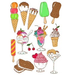 Set of isolated colorful ice cream icons vector