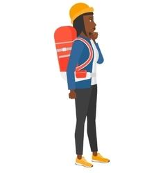 Woman looking at departure board vector