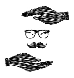 Mustache and glasses sign vector