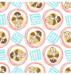 Autumn seamless pattern with mushrooms and vector