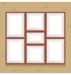 Collage of picture frames on the brick wall set vector image vector image