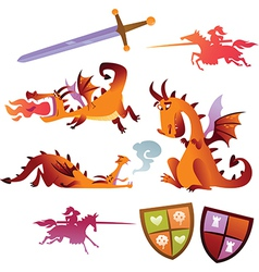 Collection of dragons vector