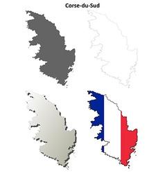 Corse-du-sud corsica outline map set vector