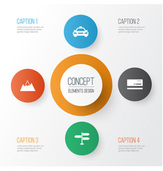 Exploration icons set collection of car mount vector