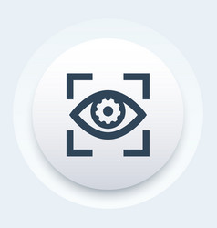 Eye with gear icon vector