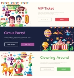 Flat design circus and carnival banners headers vector