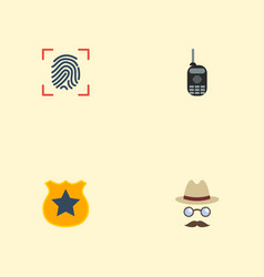 Flat icons thumbprint walkie-talkie officer vector